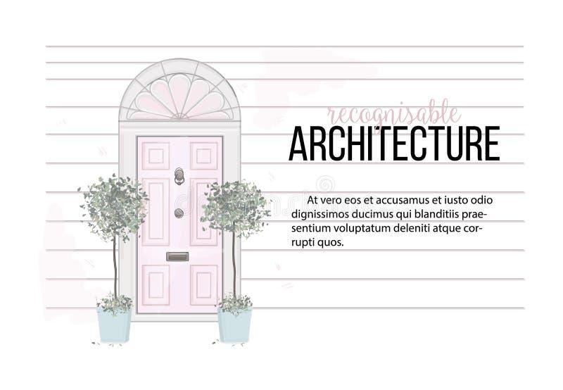 Διανυσματική απεικόνιση σπιτιών πορτών μπροστινή Σπίτι με την εσωτερική κάρτα εγκαταστάσεων Είσοδος διαμερισμάτων στα ρόδινα χρώμ απεικόνιση αποθεμάτων