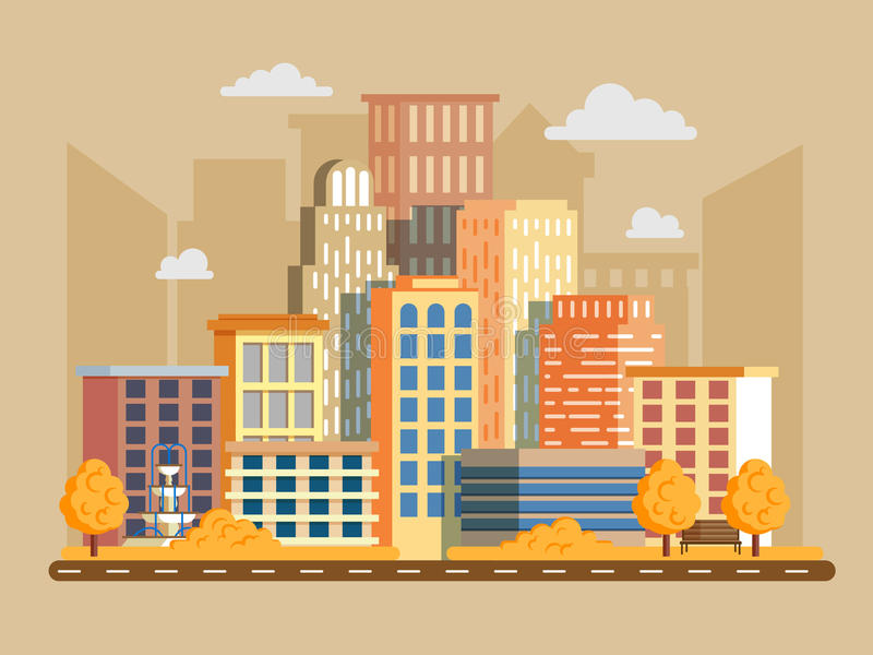 Διανυσματική απεικόνιση στο σύγχρονο επίπεδο ύφος Εικονική παράσταση πόλης με πολλή ο στοκ φωτογραφίες