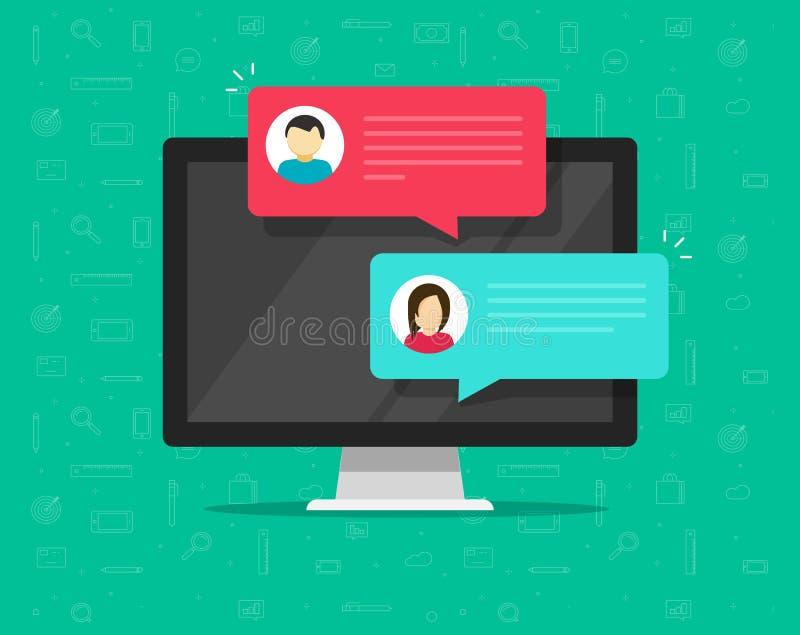 Διανυσματική απεικόνιση συνομιλίας υπολογιστών σε απευθείας σύνδεση, επίπεδα κινούμενα σχέδια του προσωπικού υπολογιστή γραφείου  διανυσματική απεικόνιση
