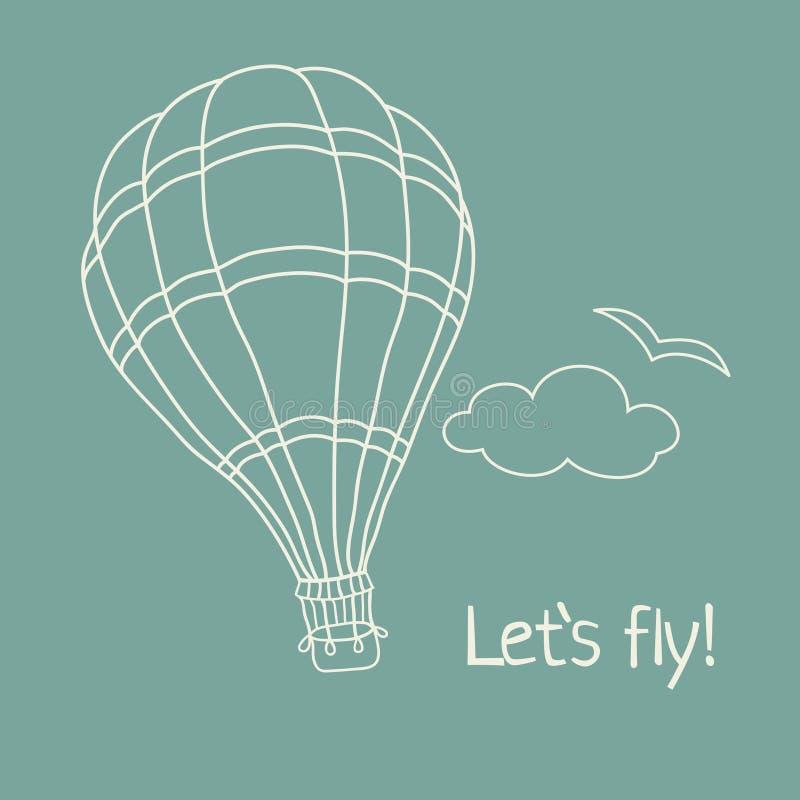 Διανυσματική απεικόνιση συρμένου του χέρι μπαλονιού ζεστού αέρα ελεύθερη απεικόνιση δικαιώματος