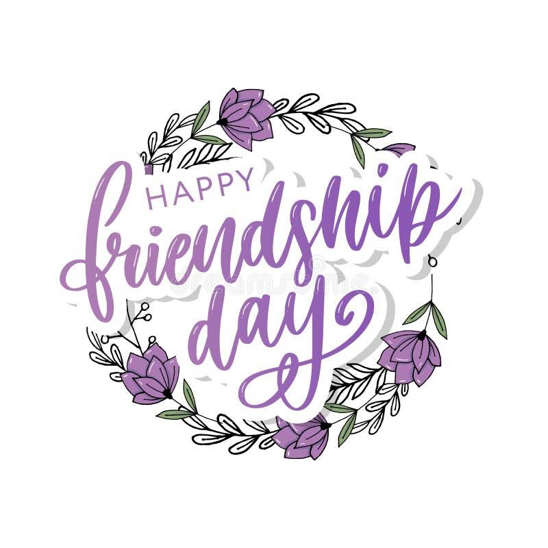 Διανυσματική απεικόνιση συρμένο χέρι ευτυχές felicitation ημέρας φιλίας στο ύφος μόδας με την εγγραφή του σημαδιού και του χρώματ διανυσματική απεικόνιση