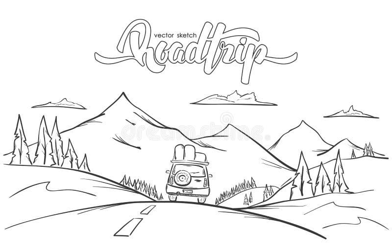 Διανυσματική απεικόνιση: Συρμένο χέρι τοπίο βουνών με το αυτοκίνητο γύρων και το χειρόγραφο οδικό ταξίδι εγγραφής ελεύθερη απεικόνιση δικαιώματος