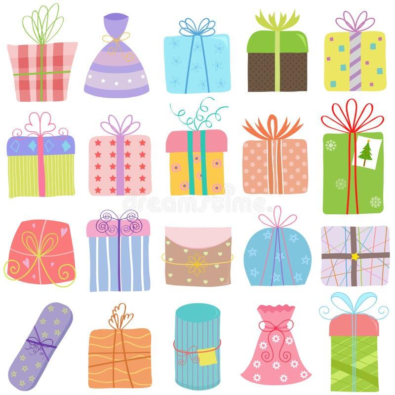 Διανυσματική απεικόνιση συρμένων των χέρι WI κιβωτίων δώρων Χριστουγέννων γενεθλίων ελεύθερη απεικόνιση δικαιώματος