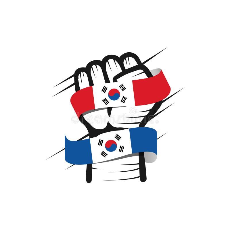 Διανυσματική απεικόνιση σχεδίου προτύπων της Νότιας Κορέας χεριών και σημαιών απεικόνιση αποθεμάτων