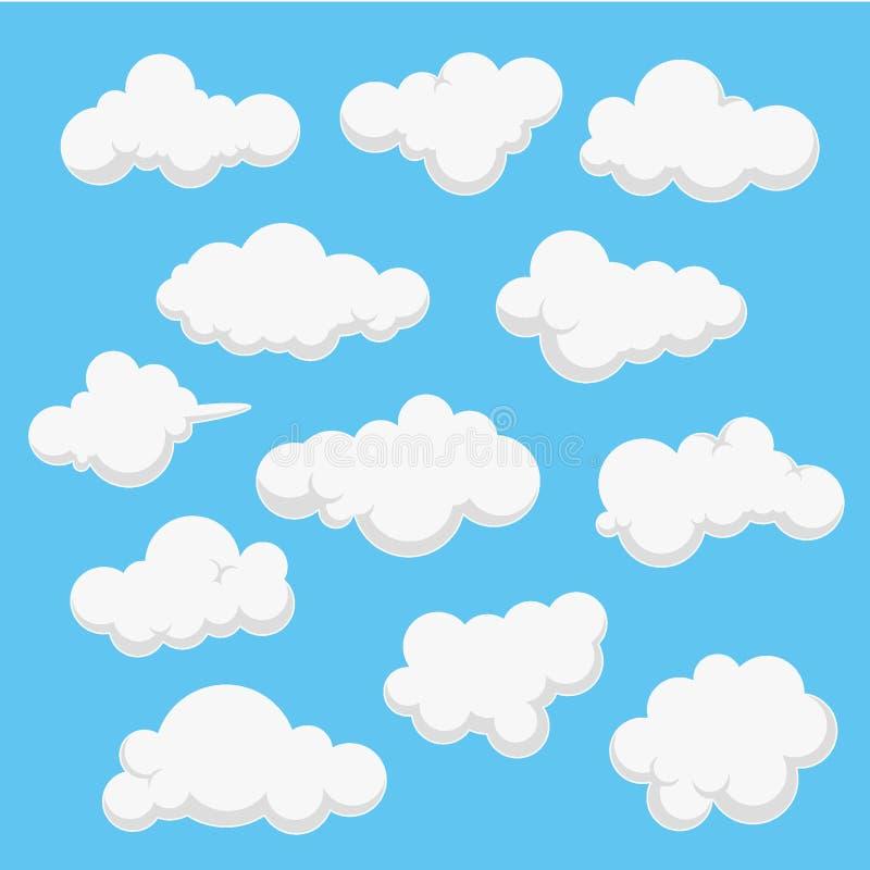 Διανυσματική απεικόνιση σχεδίου σύννεφων συλλογής, σύννεφο υποβάθρου, διανυσματικό πρότυπο μπλε ουρανού ελεύθερη απεικόνιση δικαιώματος