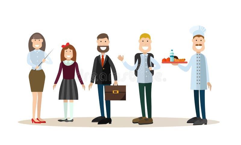 Διανυσματική απεικόνιση σχολικών ανθρώπων στο επίπεδο ύφος διανυσματική απεικόνιση