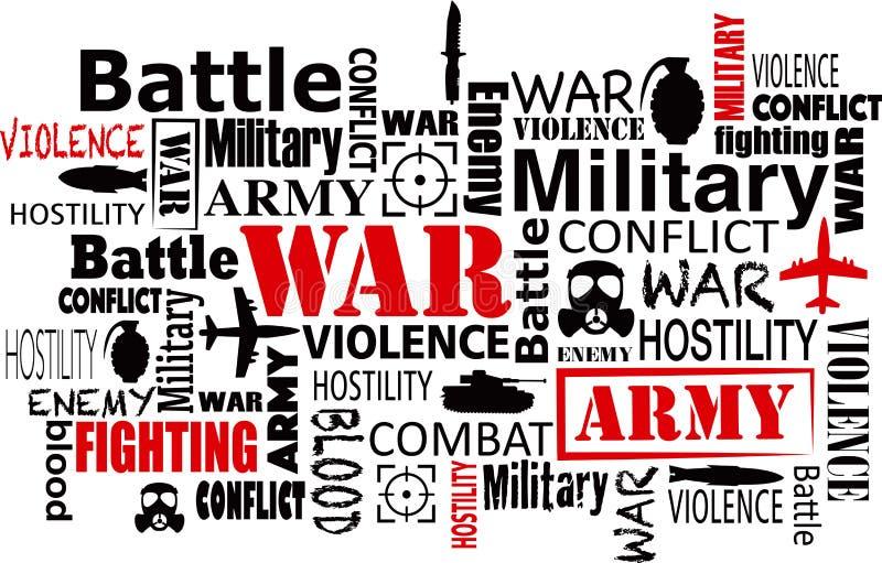 Διανυσματική απεικόνιση σύννεφων λέξης πολεμικής βίας απεικόνιση αποθεμάτων