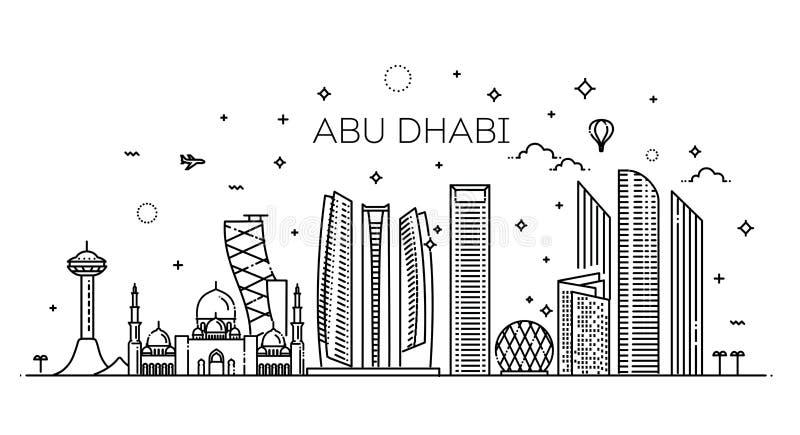Διανυσματική απεικόνιση τέχνης γραμμών πόλεων του Αμπού Ντάμπι με όλα τα διάσημα κτήρια cityscape ελεύθερη απεικόνιση δικαιώματος