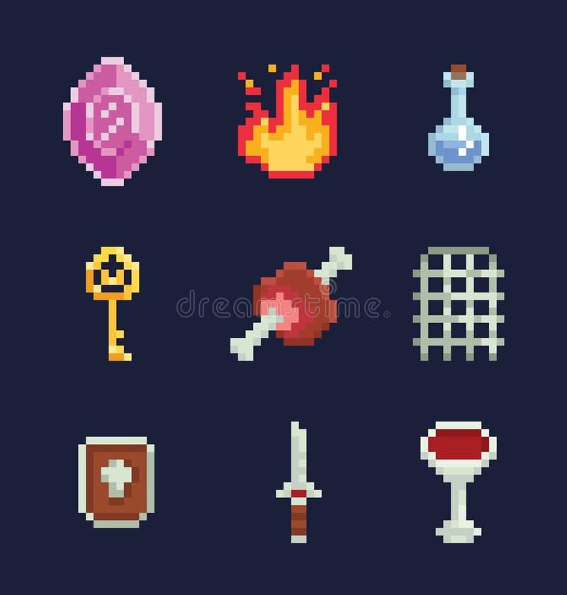 Διανυσματική απεικόνιση τέχνης εικονοκυττάρου isons για την ανάπτυξη παιχνιδιών περιπέτειας φαντασίας, πολύτιμος λίθος, πυρκαγιά, απεικόνιση αποθεμάτων