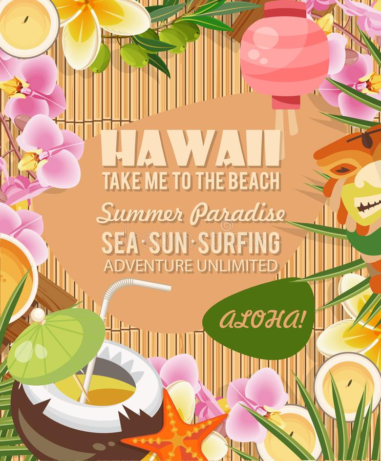 Διανυσματική απεικόνιση ταξιδιού της Χαβάης με τα τροπικά λουλούδια Θερινό πρότυπο παραθαλάσσιο θέρετρο Ηλιόλουστες διακοπές απεικόνιση αποθεμάτων