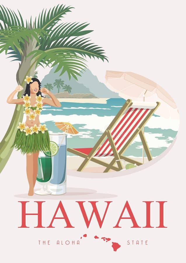 Διανυσματική απεικόνιση ταξιδιού της Χαβάης με το αεροπλάνο Aloha! Θερινό πρότυπο παραθαλάσσιο θέρετρο Ηλιόλουστες διακοπές ελεύθερη απεικόνιση δικαιώματος