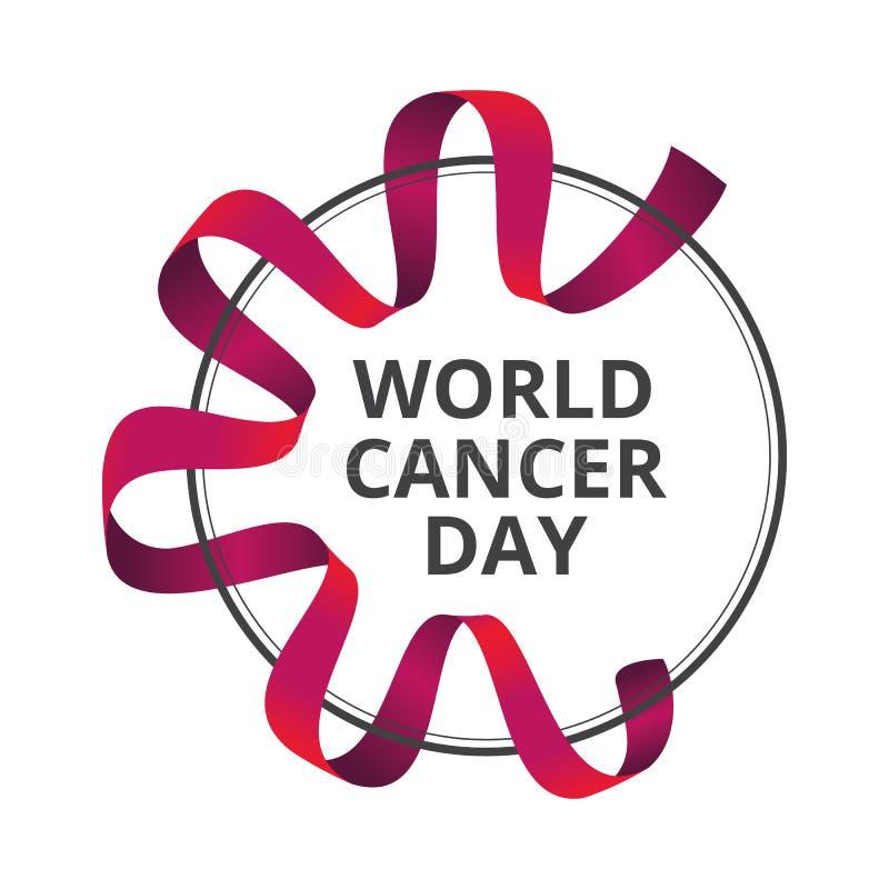 Διανυσματική απεικόνιση την 4η Φεβρουαρίου - ημέρα παγκόσμιου καρκίνου με την κόκκινη κορδέλλα συνειδητοποίησης που απομονώνεται  διανυσματική απεικόνιση