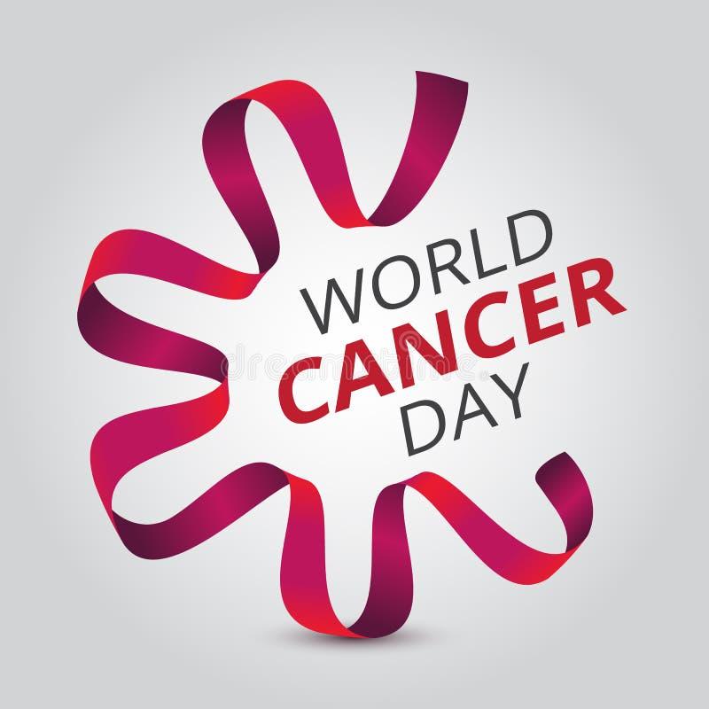 Διανυσματική απεικόνιση την 4η Φεβρουαρίου - ημέρα παγκόσμιου καρκίνου με την κόκκινα κορδέλλα και το κείμενο συνειδητοποίησης ελεύθερη απεικόνιση δικαιώματος