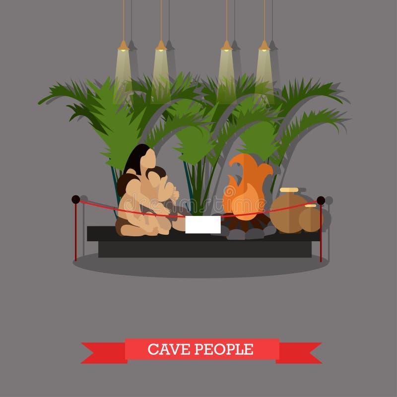 Διανυσματική απεικόνιση της έκθεσης ανθρώπων σπηλιών στο μουσείο, παλαιολιθική εποχή απεικόνιση αποθεμάτων