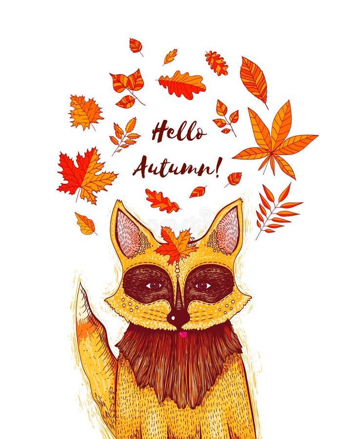 Διανυσματική απεικόνιση της αλεπούς με τα φύλλα φθινοπώρου Πρότυπο σχεδίου για την πρόσκληση, το ιπτάμενο, τη ευχετήρια κάρτα, τη ελεύθερη απεικόνιση δικαιώματος