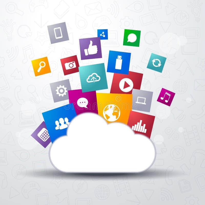 Διανυσματική απεικόνιση της αποθήκευσης σύννεφων με το δίκτυο, κοινωνικά μέσα και αυτό εικονίδια στα διαφορετικά χρώματα ελεύθερη απεικόνιση δικαιώματος