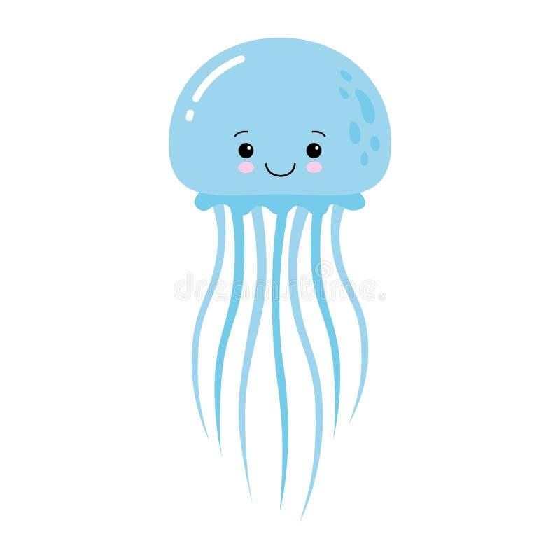 Διανυσματική απεικόνιση της αστείας μπλε μέδουσας κινούμενων σχεδίων που απομονώνεται στο άσπρο υπόβαθρο Kawaii απεικόνιση αποθεμάτων