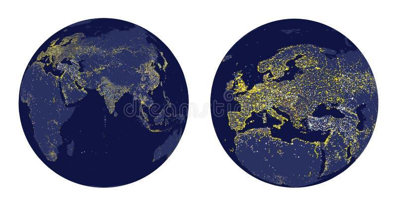 Διανυσματική απεικόνιση της γήινης σφαίρας με τα φω'τα πόλεων και ζουμ της Ευρώπης διανυσματική απεικόνιση