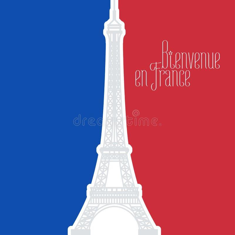 Διανυσματική απεικόνιση της Γαλλίας με τα γαλλικά χρώματα σημαιών και τον πύργο του Άιφελ ελεύθερη απεικόνιση δικαιώματος