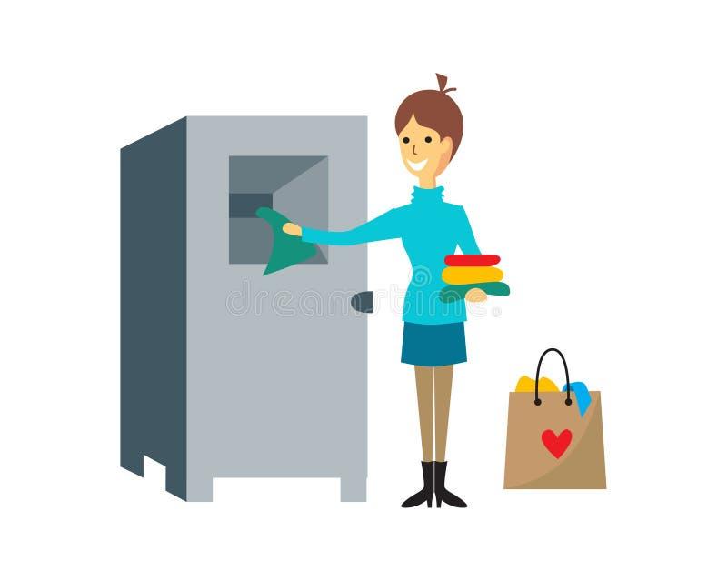 Διανυσματική απεικόνιση της δωρεάς ενδυμάτων της γυναίκας διανυσματική απεικόνιση