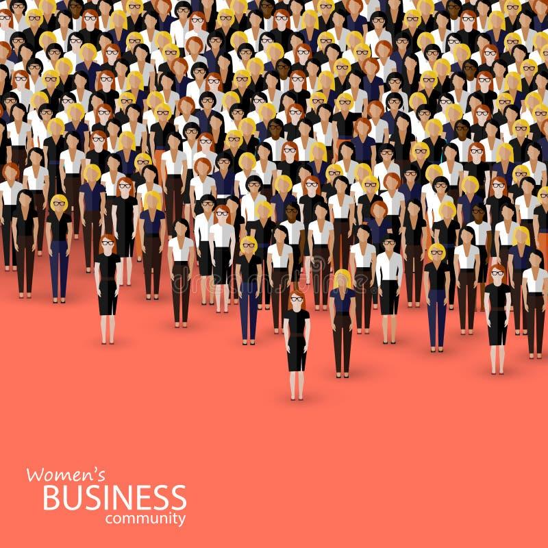 Διανυσματική απεικόνιση της επιχειρηματικής κοινότητας γυναικών ένα πλήθος των επιχειρησιακών γυναικών ή των πολιτικών ελεύθερη απεικόνιση δικαιώματος