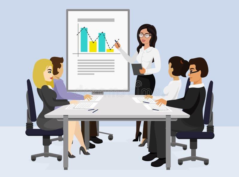 Διανυσματική απεικόνιση της επιχειρησιακής συνεδρίασης, έννοια παρουσίασης, νέο πρόγραμμα Η γυναίκα μιλά και παρουσιάζει γραφική  ελεύθερη απεικόνιση δικαιώματος