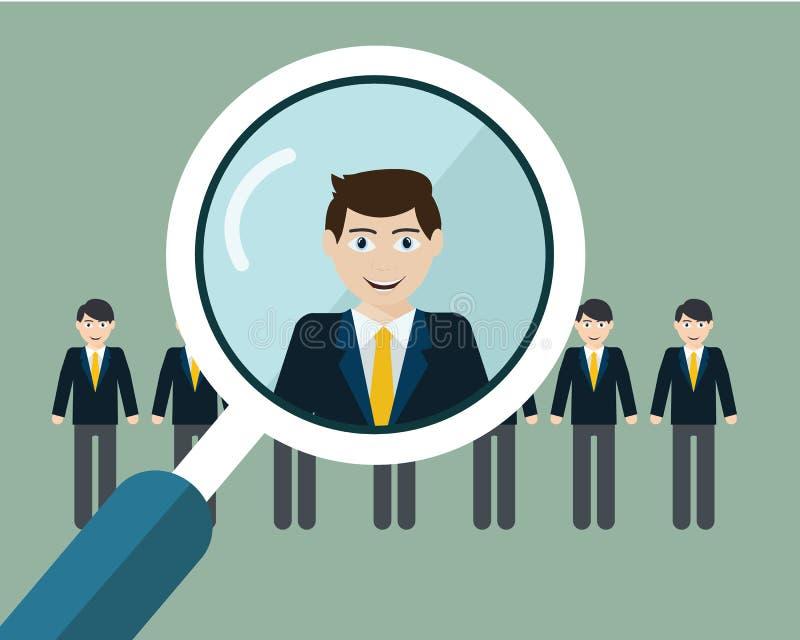 Διανυσματική απεικόνιση της εύρεσης του επαγγελματικού προσωπικού με την ενίσχυση - γυαλί απεικόνιση αποθεμάτων
