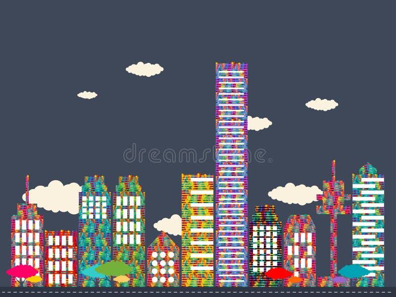 Download Διανυσματική απεικόνιση της ζωηρόχρωμης πόλης Διανυσματική απεικόνιση - εικονογραφία από θέση, πράσινος: 62711083