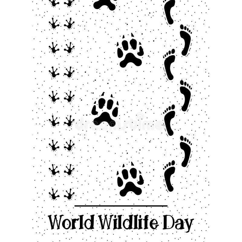 Διανυσματική απεικόνιση της ημέρας παγκόσμιας άγριας φύσης με το ζωικό ίχνος και το ανθρώπινο ίχνος ελεύθερη απεικόνιση δικαιώματος