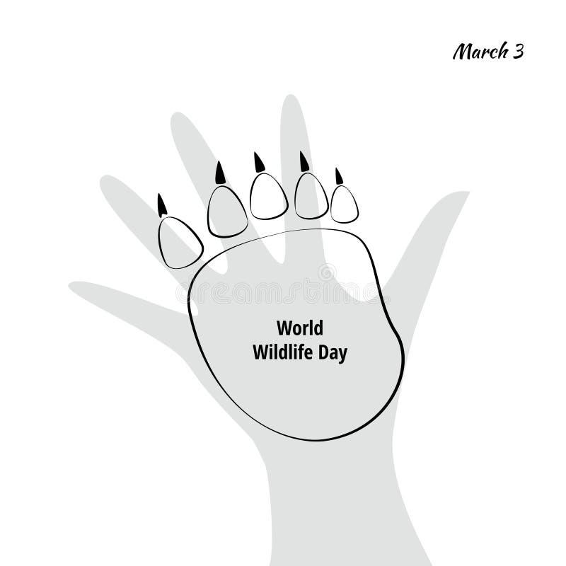 Διανυσματική απεικόνιση της ημέρας παγκόσμιας άγριας φύσης με το ζωικό ίχνος απεικόνιση αποθεμάτων
