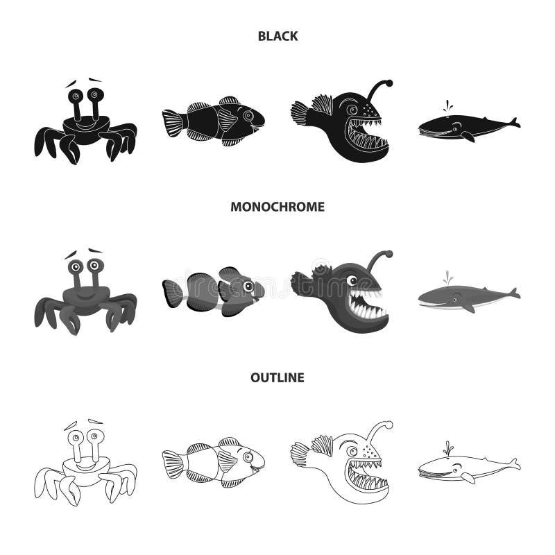 Διανυσματική απεικόνιση της θάλασσας και του ζωικού εικονιδίου Σύνολο θάλασσας και θαλάσσιας διανυσματικής απεικόνισης αποθεμάτων διανυσματική απεικόνιση