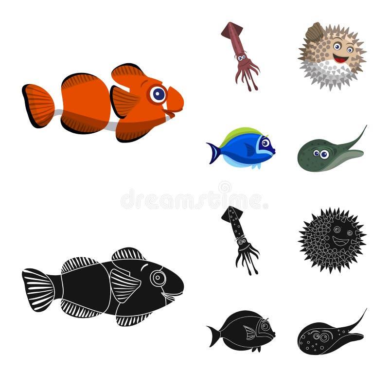 Διανυσματική απεικόνιση της θάλασσας και του ζωικού εικονιδίου Συλλογή της θάλασσας και του θαλάσσιου συμβόλου αποθεμάτων για τον διανυσματική απεικόνιση