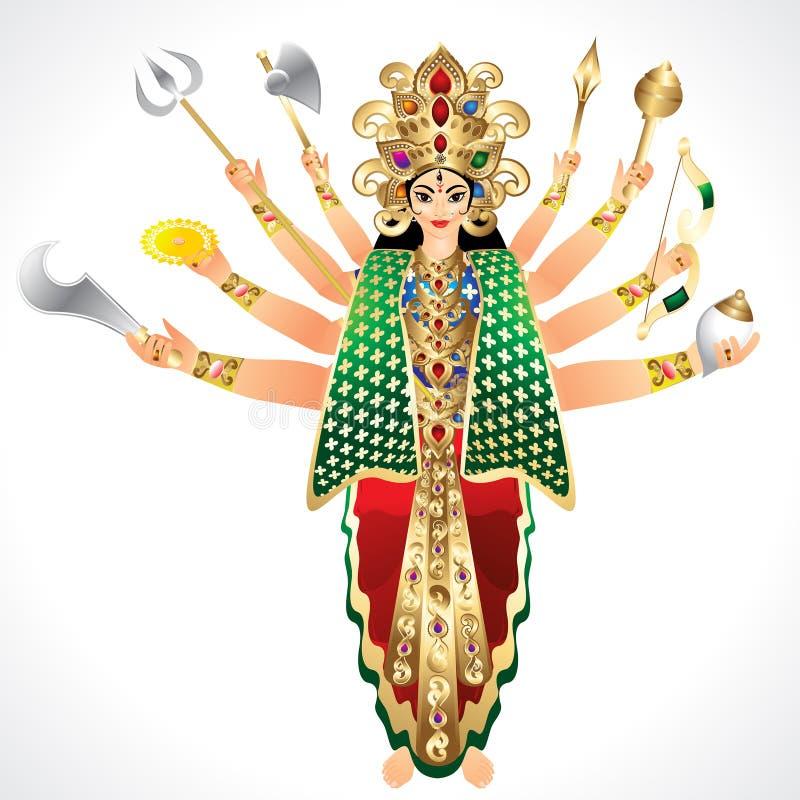 Διανυσματική απεικόνιση της θεάς Durga απεικόνιση αποθεμάτων