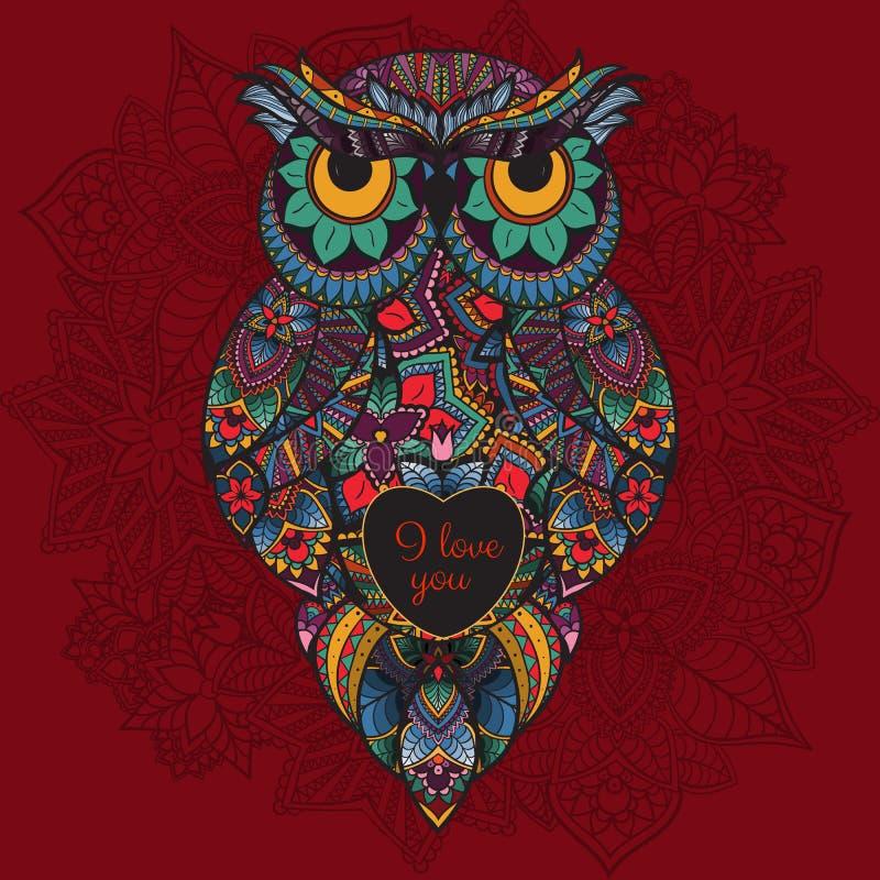 Διανυσματική απεικόνιση της διακοσμητικής κουκουβάγιας Πουλί που διευκρινίζεται σε φυλετικό Κουκουβάγια Boho με την αγάπη Καρδιά  απεικόνιση αποθεμάτων