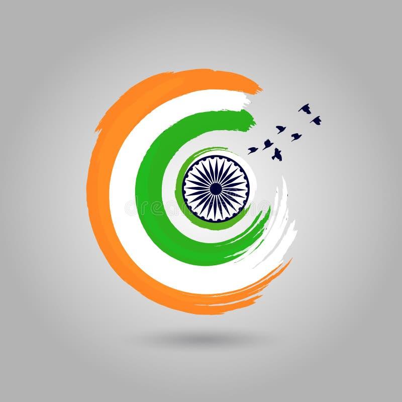 Διανυσματική απεικόνιση της ινδικής σημαίας στο κυκλικό ύφος ελεύθερη απεικόνιση δικαιώματος