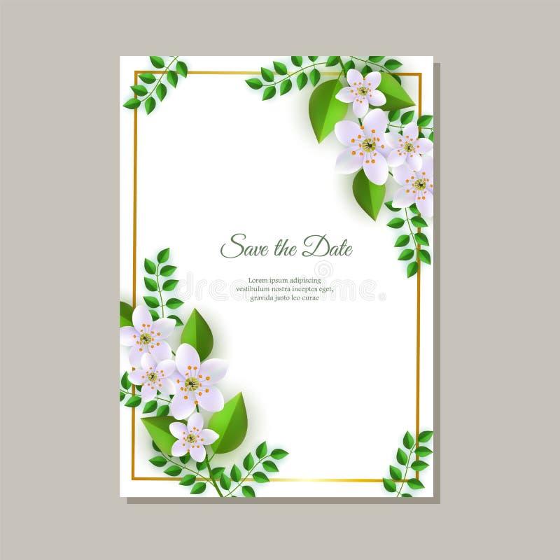 Διανυσματική απεικόνιση της κάρτας γαμήλιας πρόσκλησης με τις τρυφερές floral συνθέσεις απεικόνιση αποθεμάτων