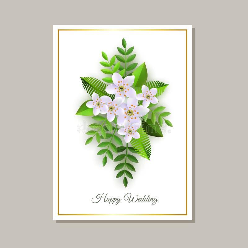 Διανυσματική απεικόνιση της κάρτας γαμήλιων συγχαρητηρίων με την τρυφερή floral σύνθεση ελεύθερη απεικόνιση δικαιώματος