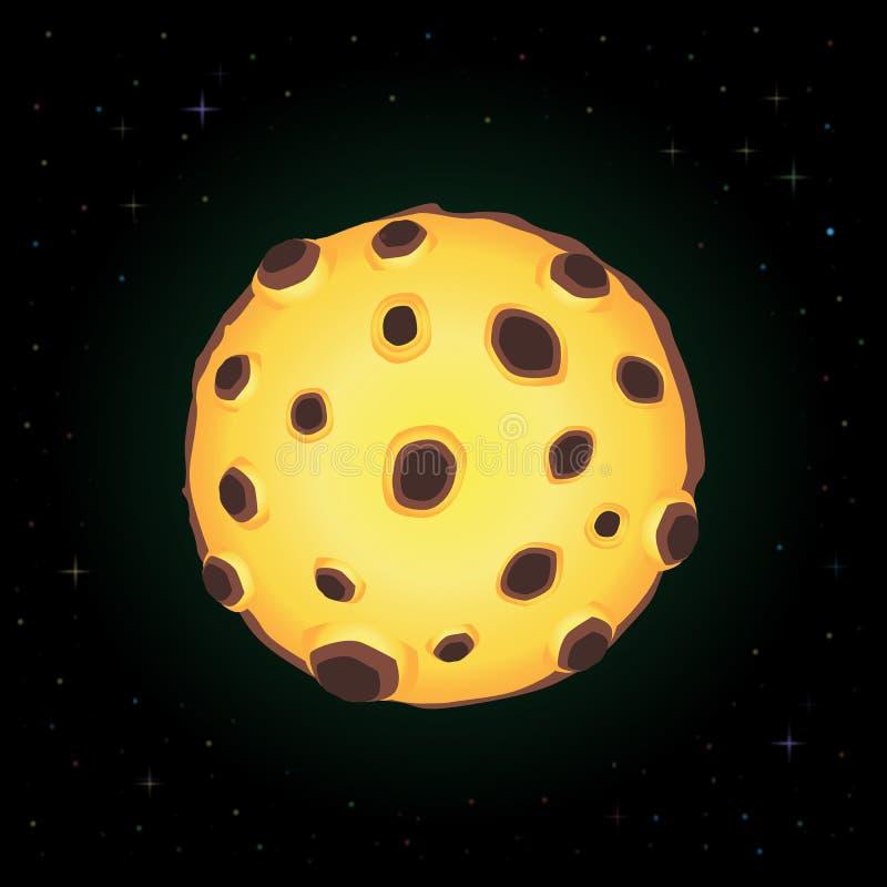 Διανυσματική απεικόνιση της κίτρινης πανσελήνου κλίσης κινούμενων σχεδίων με τους κρατήρες στο νυχτερινό ουρανό ελεύθερη απεικόνιση δικαιώματος