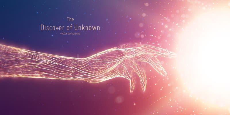 Διανυσματική απεικόνιση της καμμένος σφαίρας αφής χεριών Έννοια της ανακάλυψης της άγνωστης, να λάμψει γνώσης Ψηφιακό cyber ελεύθερη απεικόνιση δικαιώματος
