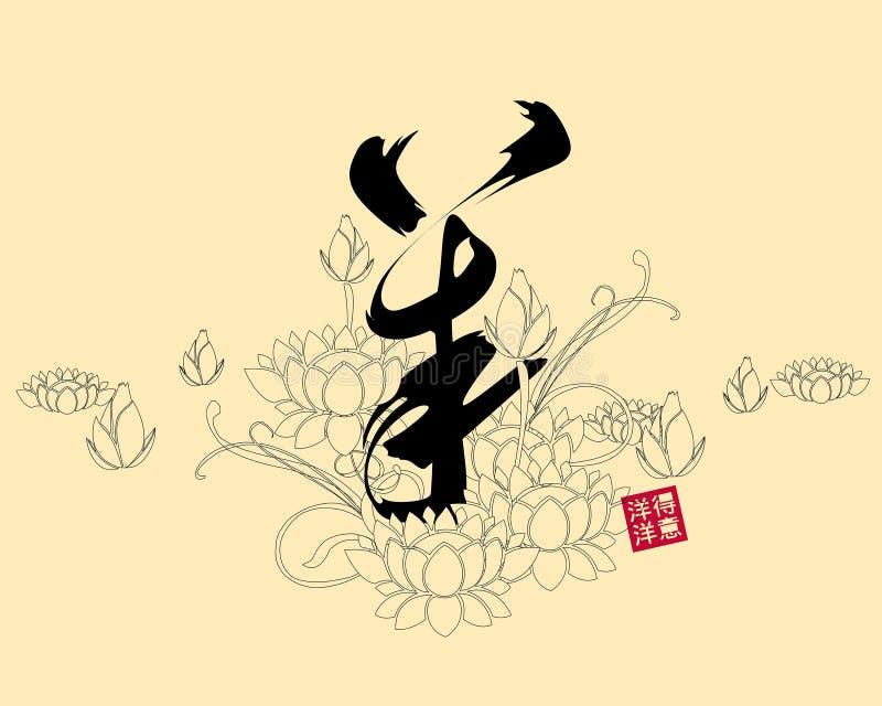 Διανυσματική απεικόνιση της κινεζικής καλλιγραφίας yang, μετάφραση: πρόβατα, αίγα ελεύθερη απεικόνιση δικαιώματος