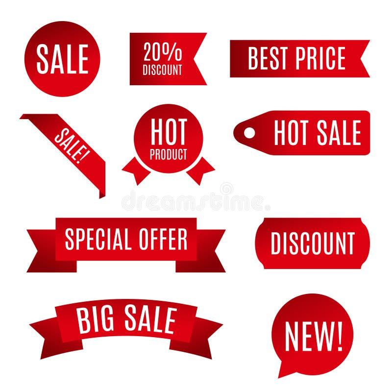 Διανυσματική απεικόνιση της κόκκινης κορδέλλας, έμβλημα πώλησης, κύλινδρος εγγράφου στο άσπρο υπόβαθρο ελεύθερη απεικόνιση δικαιώματος