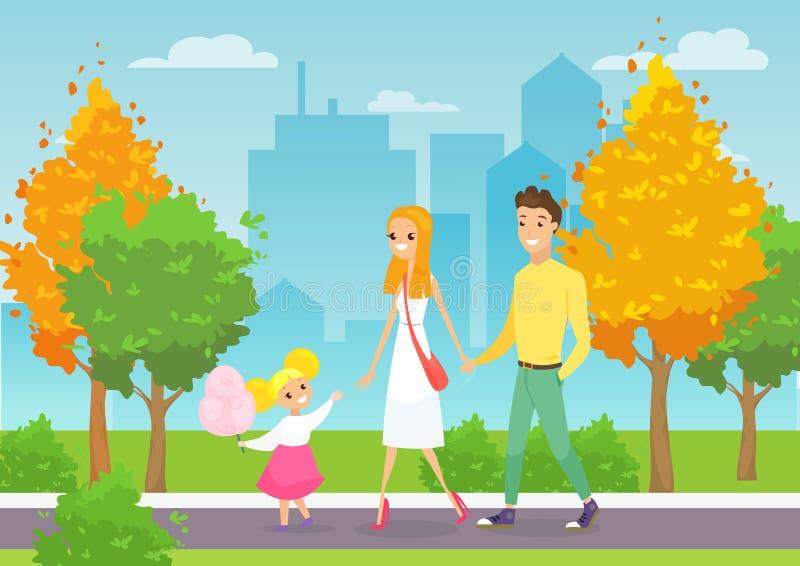 Διανυσματική απεικόνιση της νέας οικογένειας που περπατά με το παιδί στο πάρκο πόλεων Ευτυχείς και χαμογελώντας γονείς με τα κινο ελεύθερη απεικόνιση δικαιώματος