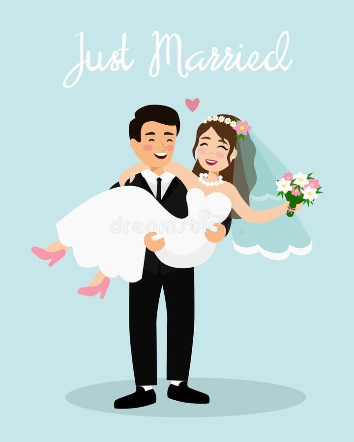 Διανυσματική απεικόνιση της νύφης και του νεόνυμφου γαμήλιων ζευγών Ακριβώς το παντρεμένο ζευγάρι, ευτυχής νεόνυμφος κρατά τη νύφ ελεύθερη απεικόνιση δικαιώματος