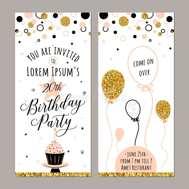 Διανυσματική απεικόνιση της πρόσκλησης γενεθλίων Πρόσωπο και πίσω πλευρές Υπόβαθρο κόμματος με το cupcake, ballon και τα χρυσά σπ διανυσματική απεικόνιση