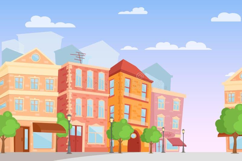 Διανυσματική απεικόνιση της πόλης κινούμενων σχεδίων στα φωτεινά χρώματα, χρόνος ημέρας, χαριτωμένη οδός πόλεων με τα ζωηρόχρωμα  ελεύθερη απεικόνιση δικαιώματος
