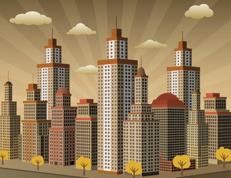 Πόλη στην προοπτική (αναδρομικά χρώματα) διανυσματική απεικόνιση