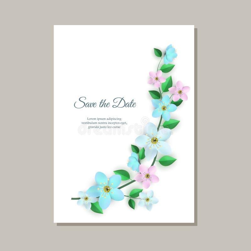 Διανυσματική απεικόνιση της ρομαντικής κάρτας γαμήλιας πρόσκλησης με την τρυφερή floral σύνθεση ελεύθερη απεικόνιση δικαιώματος