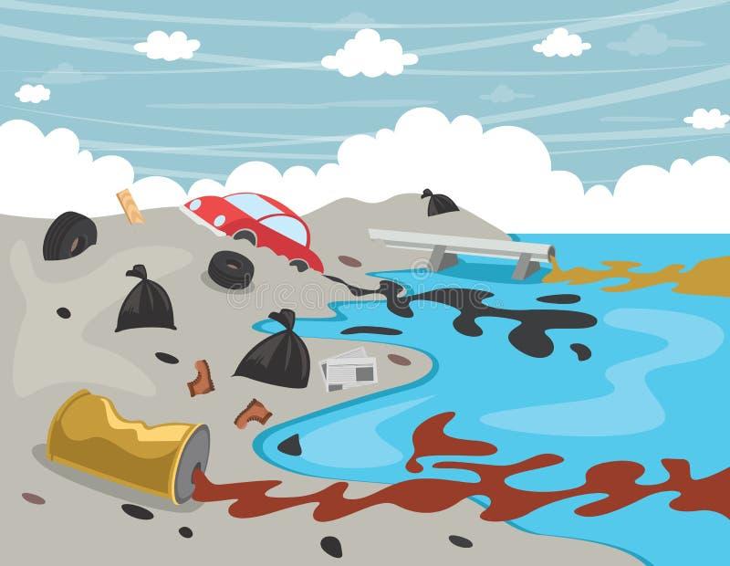 Διανυσματική απεικόνιση της ρύπανσης των υδάτων απεικόνιση αποθεμάτων