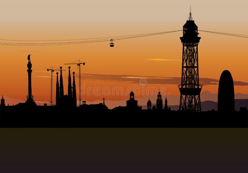 Σκιαγραφία οριζόντων της Βαρκελώνης με τον ουρανό ηλιοβασιλέματος απεικόνιση αποθεμάτων