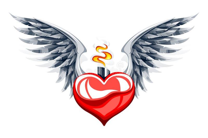 Διανυσματική απεικόνιση της στιλπνής καρδιάς με τα φτερά απεικόνιση αποθεμάτων